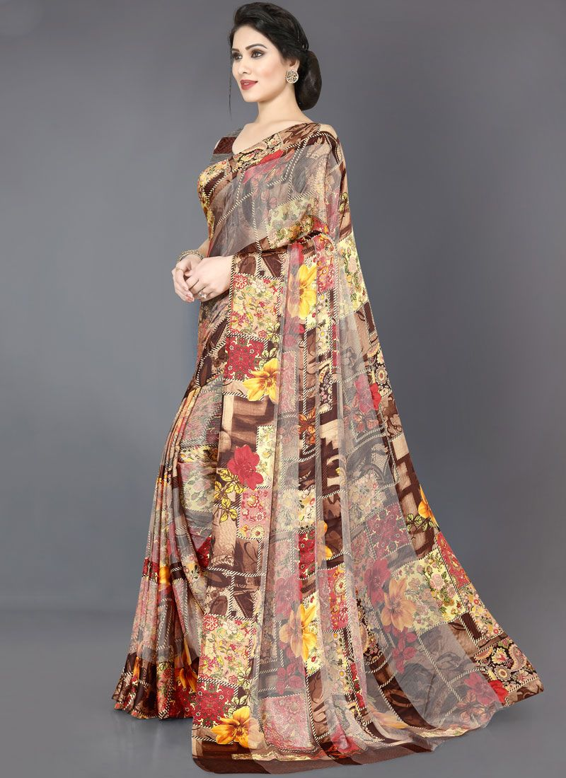 Brown Abstract Print Festival Casual Saree