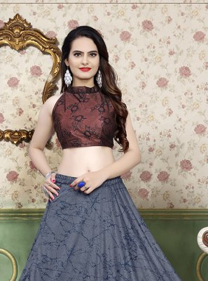 Brown and Grey Mehndi Lycra A Line Lehenga Choli