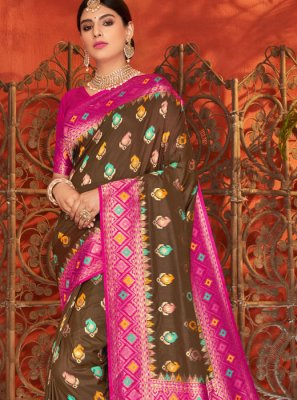 Brown and Magenta Weaving Silk Saree