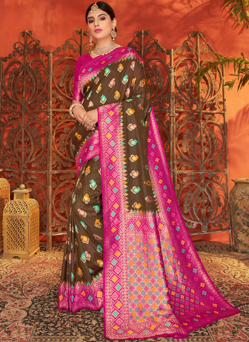 Brown and Magenta Weaving Silk Saree