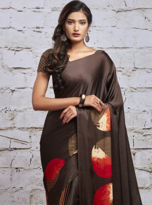 Brown and Multi Colour Print Saree