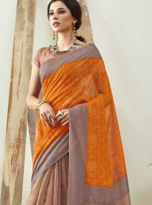Brown and Orange Digital Print Saree