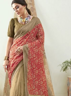 Brown and Pink Casual Saree