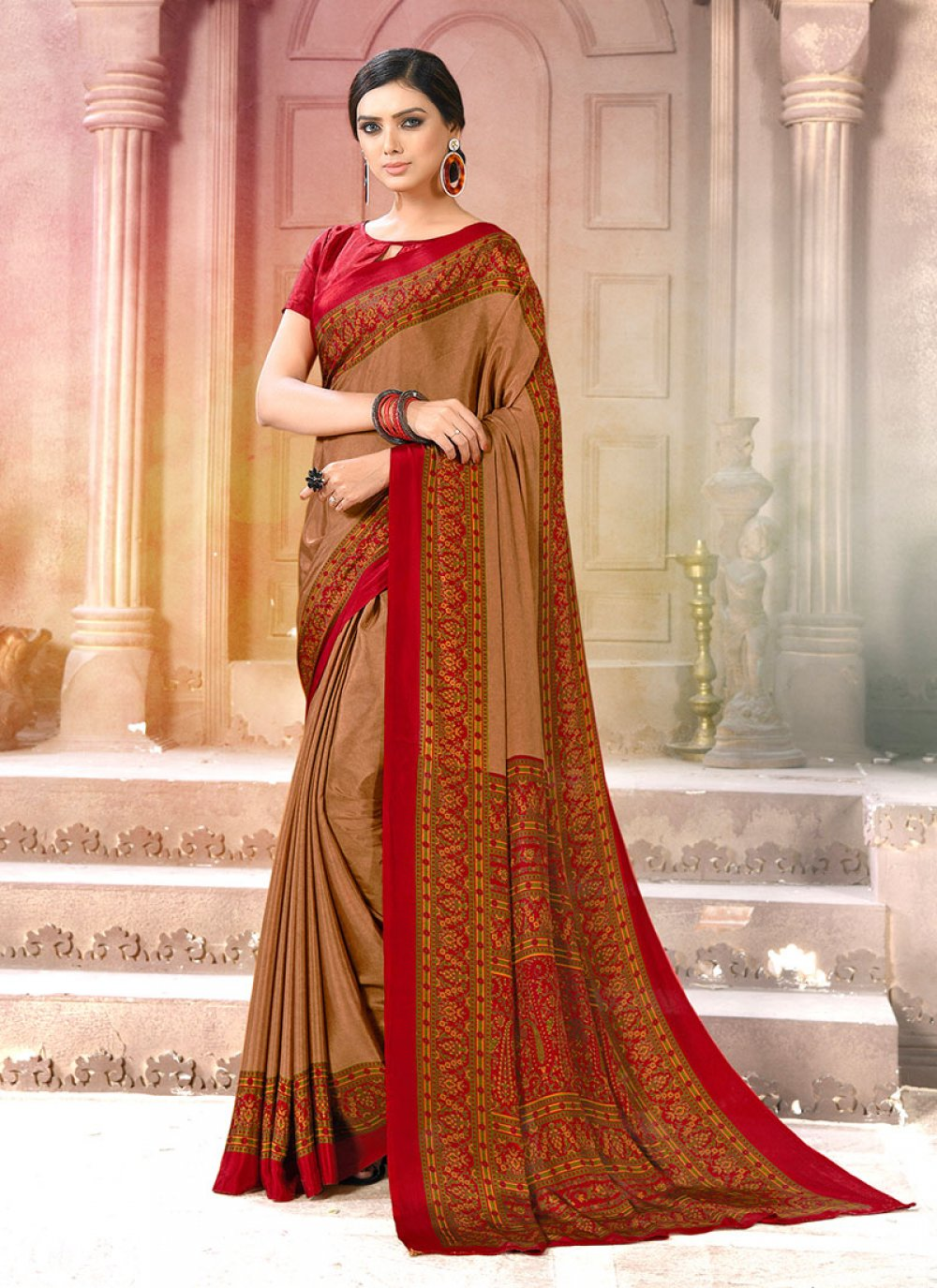Brown and Red Casual Casual Saree