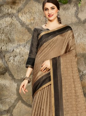 Brown Art Silk Festival Printed Saree