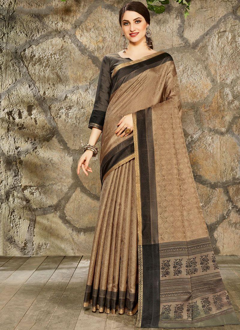 Brown Art Silk Festival Printed Saree