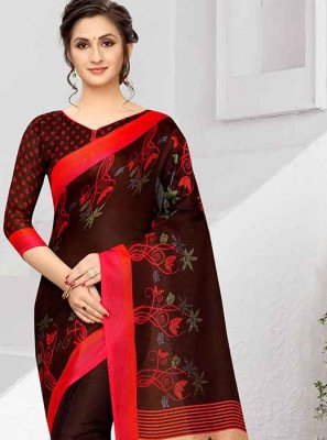 Brown Art Silk Party Printed Saree
