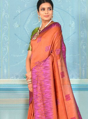 Brown Bhagalpuri Silk Weaving Designer Traditional Saree