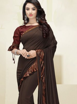 Brown Border Designer Saree