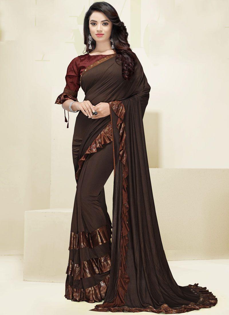 Brown Border Designer Saree