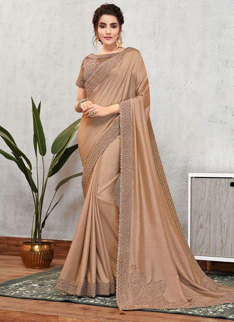 Brown Bridal Tussar Silk Designer Traditional Saree