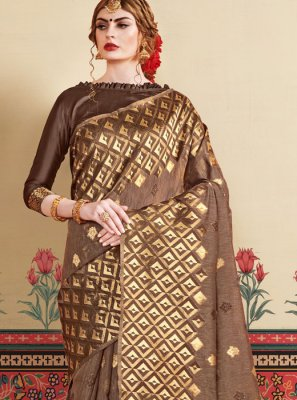 Brown Casual Art Silk Traditional Saree