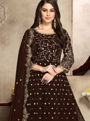 Brown Ceremonial Anarkali Salwar Suit
