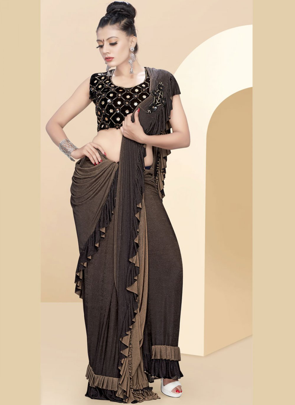 Brown Color Classic Saree