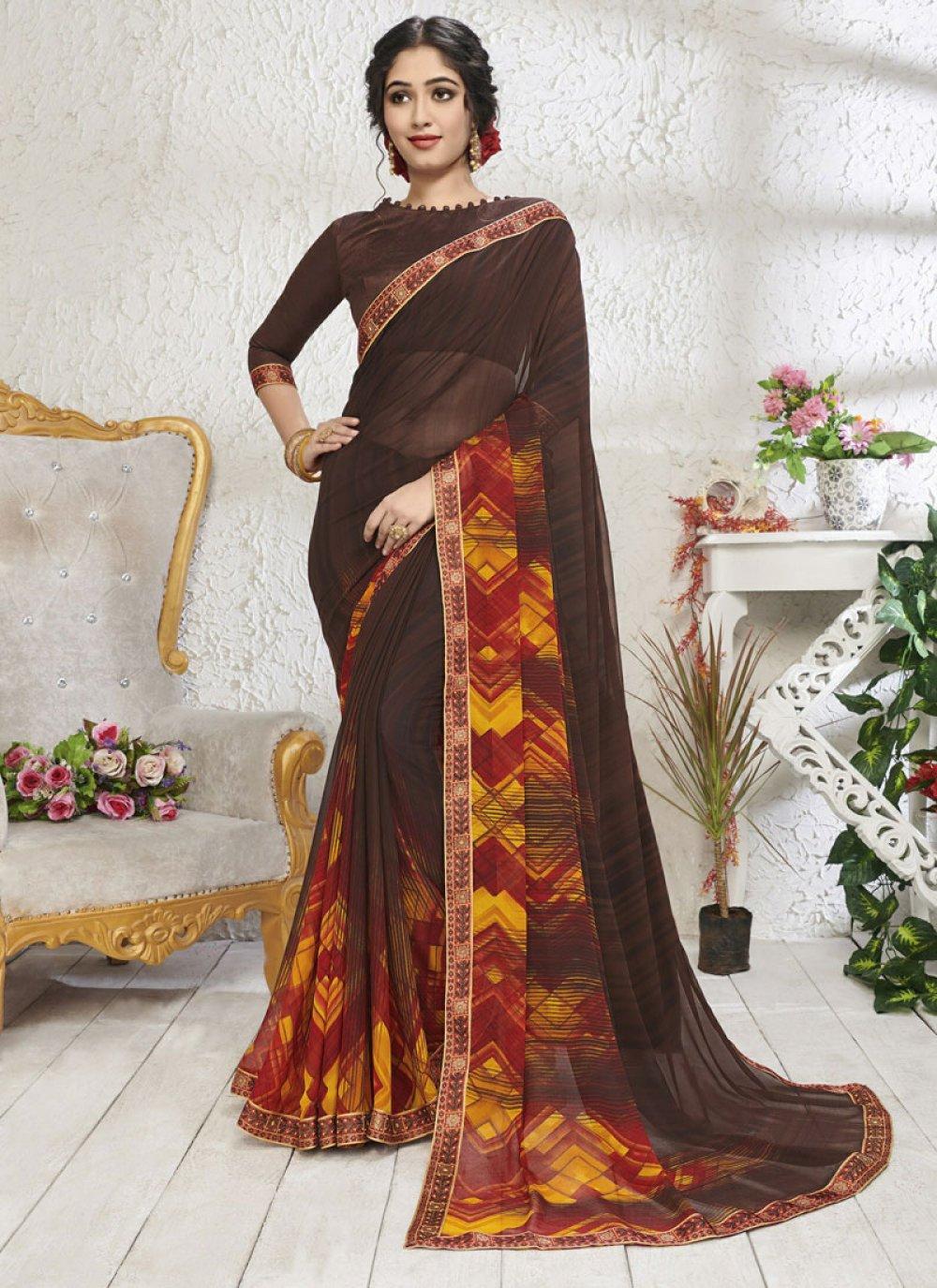 Brown Color Designer Saree