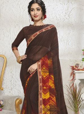 Brown Color Designer Saree