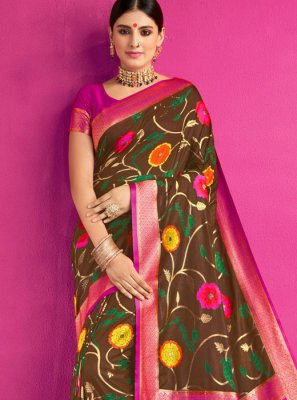 Brown Color Trendy Saree