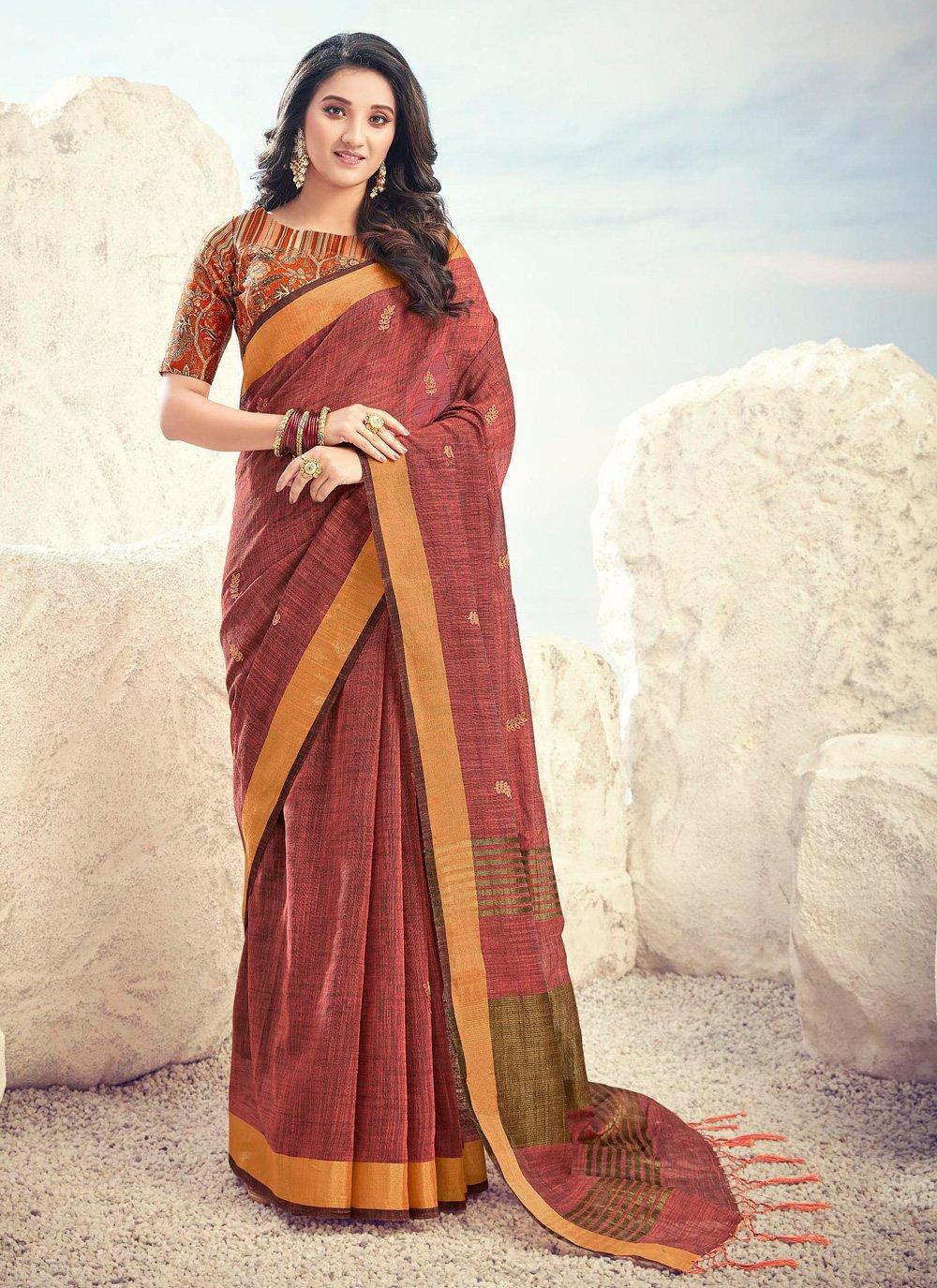 Brown Cotton Bollywood Saree