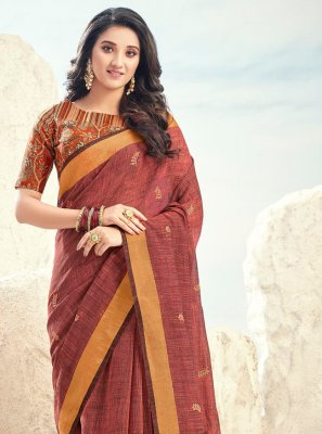 Brown Cotton Bollywood Saree