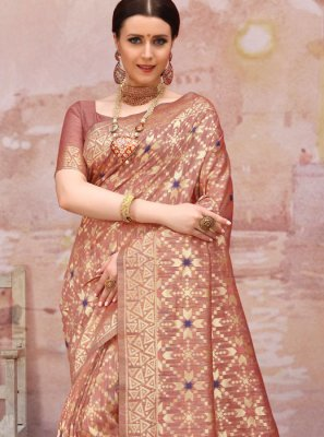 Brown Cotton Designer Traditional Saree