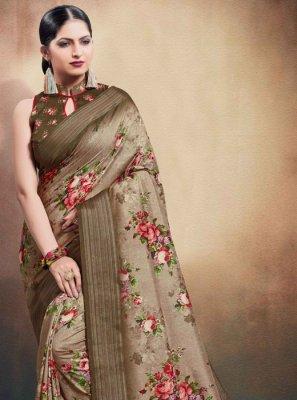Brown Cotton Digital Print Classic Saree