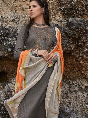 Brown Cotton Embroidered Salwar Suit