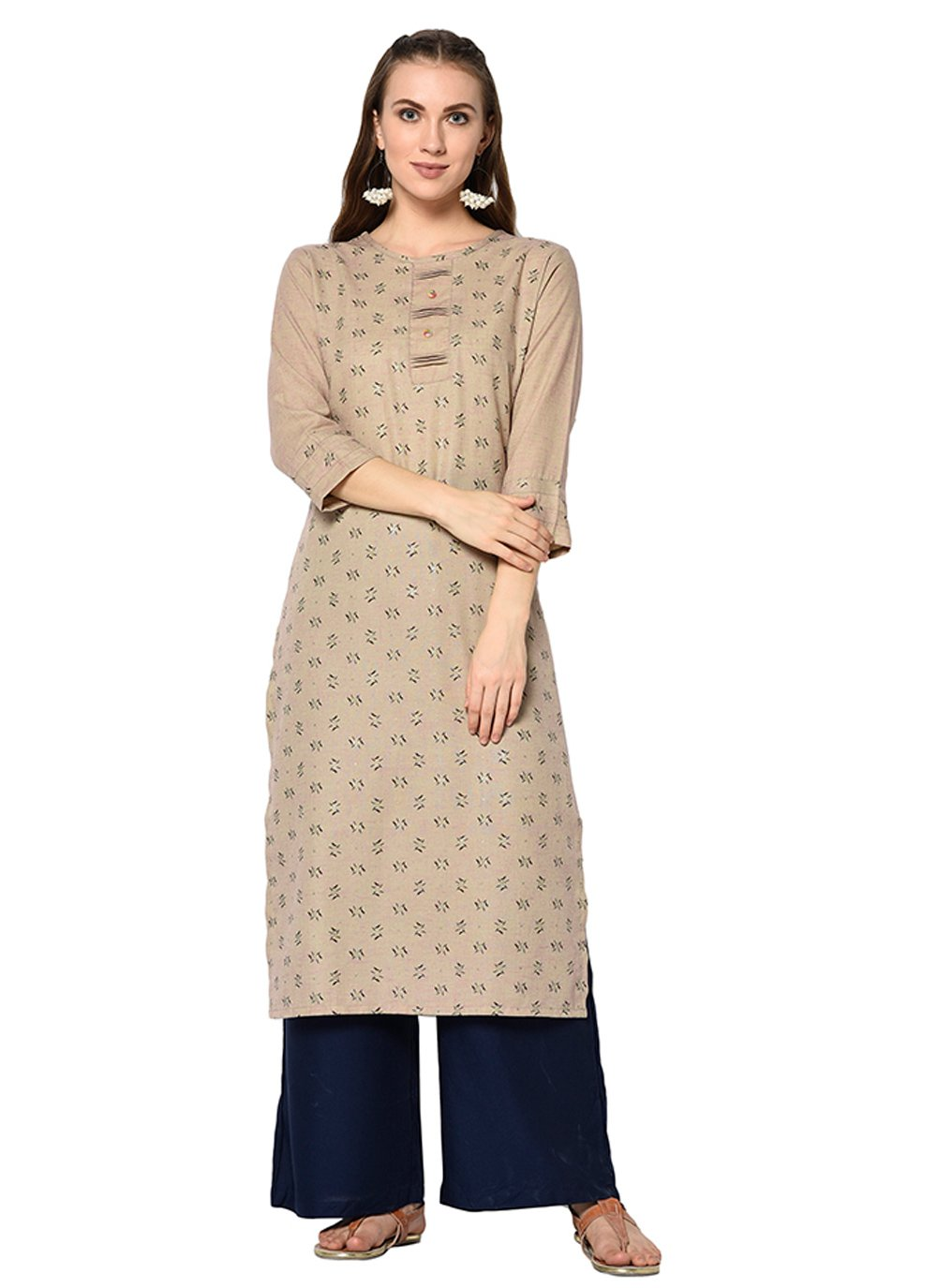 Brown Cotton Party Casual Kurti