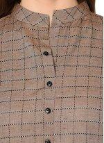 Brown Cotton Party Wear Kurti