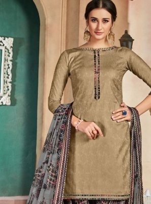 Brown Cotton Patiala Salwar Suit