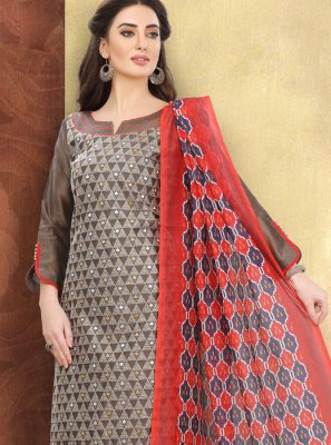 Brown Cotton Printed Churidar Designer Suit