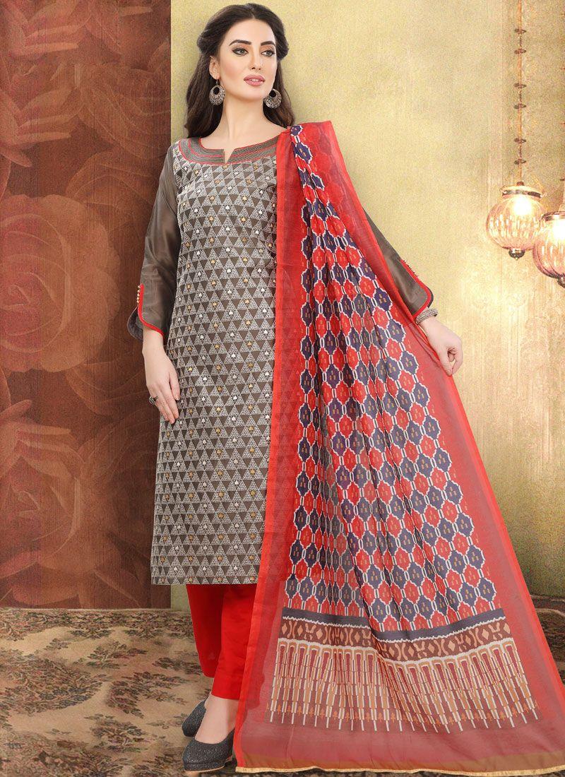 Brown Cotton Printed Churidar Designer Suit
