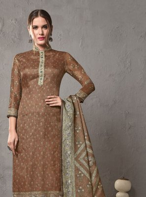 Brown Cotton Salwar Suit