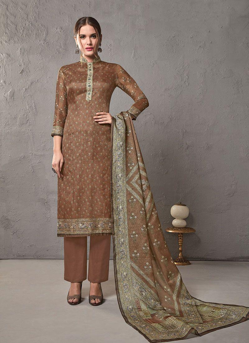 Brown Cotton Salwar Suit