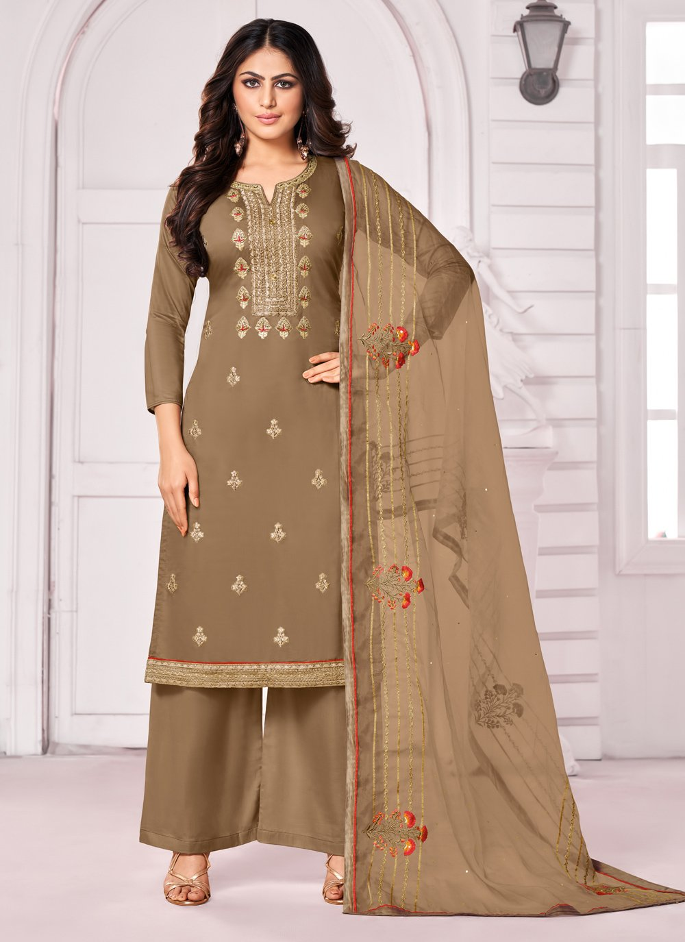 Brown Cotton Trendy Palazzo Suit