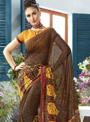 Brown Designer Saree