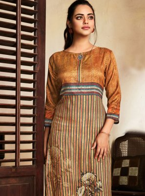 Brown Digital Print Designer Kurti