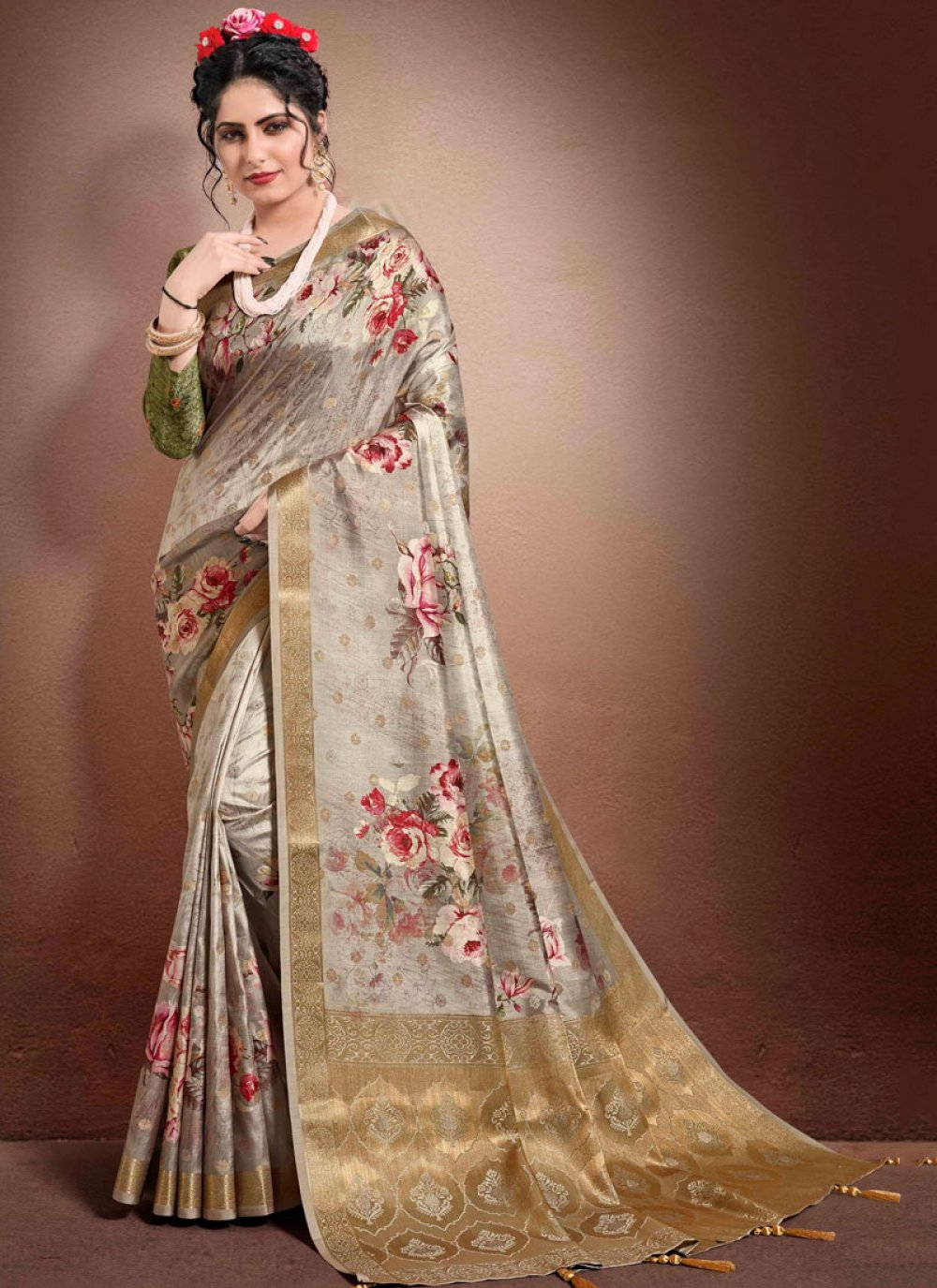 Brown Digital Print Georgette Classic Saree