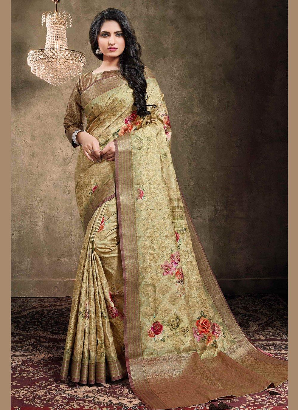 Brown Digital Print Jacquard Classic Designer Saree