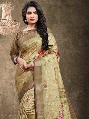 Brown Digital Print Jacquard Classic Designer Saree