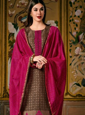 Brown Digital Print Silk Pant Style Suit