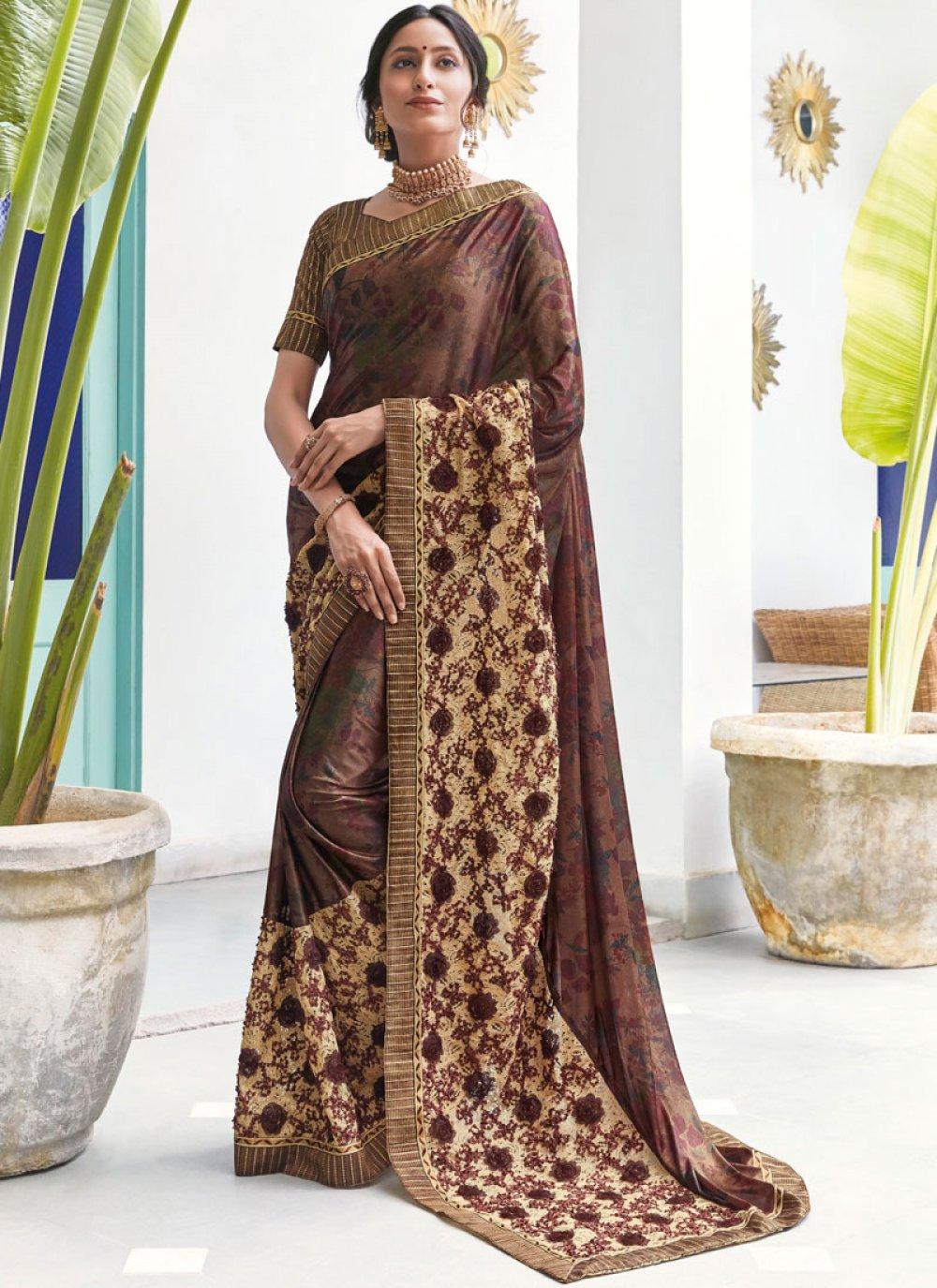 Brown Digital Print Trendy Saree