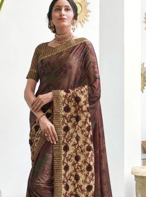 Brown Digital Print Trendy Saree