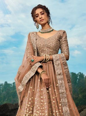 Brown Dori Work Party Lehenga Choli