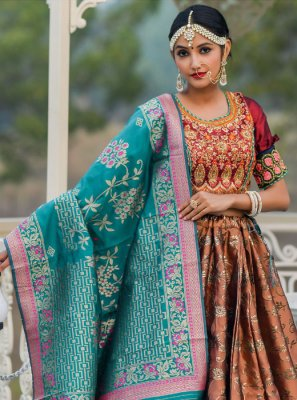 Brown Embroidered A Line Lehenga Choli