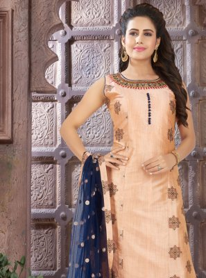 Brown Embroidered Art Silk Readymade Salwar Kameez