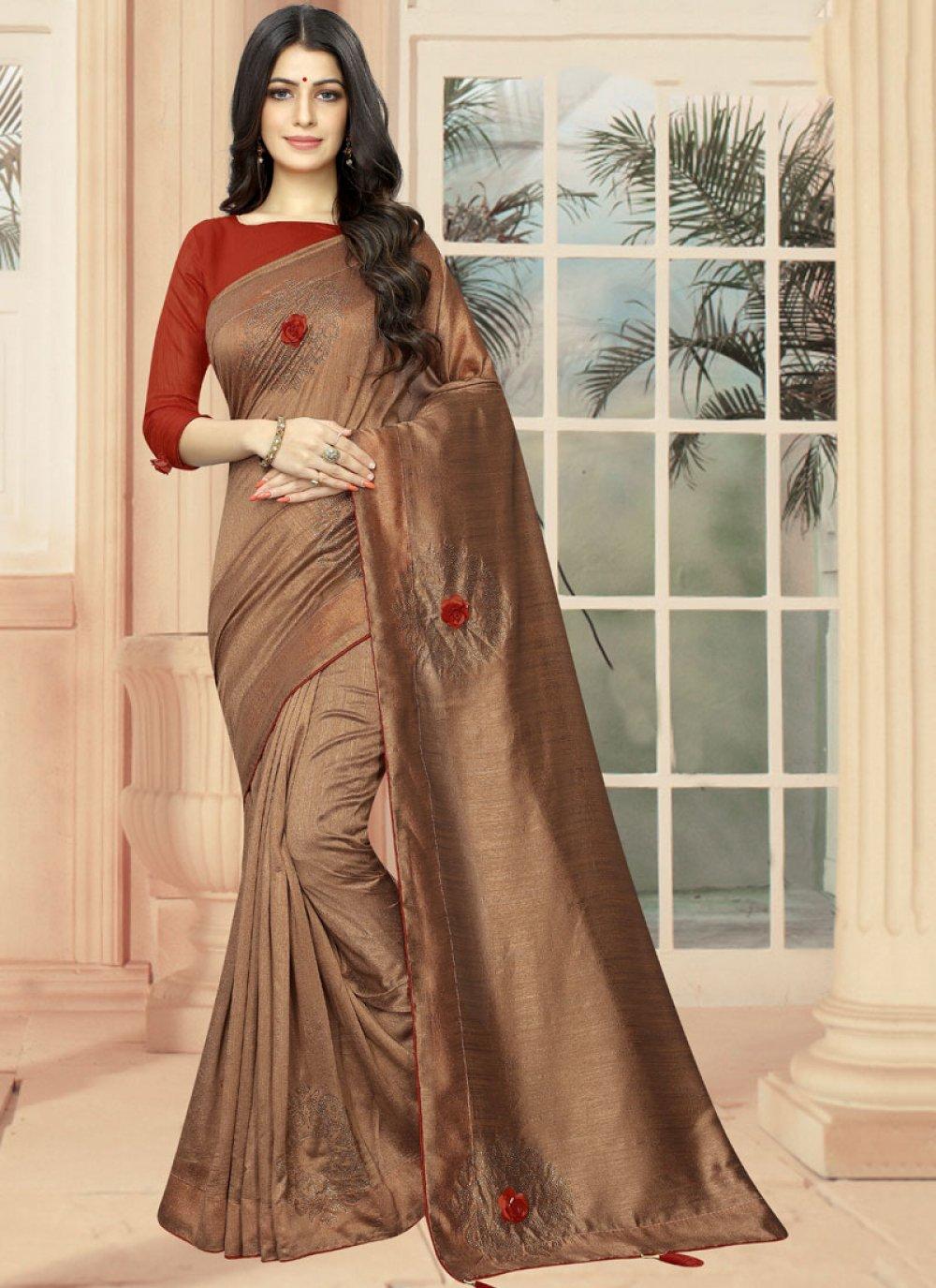 Brown Embroidered Designer Saree