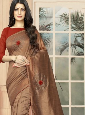 Brown Embroidered Designer Saree