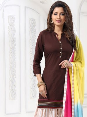 Brown Embroidered Designer Suit