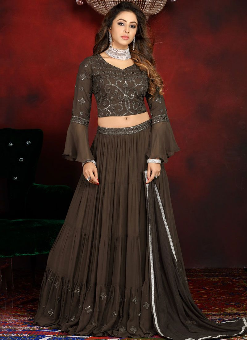Brown Embroidered Faux Georgette Readymade Lehenga Choli