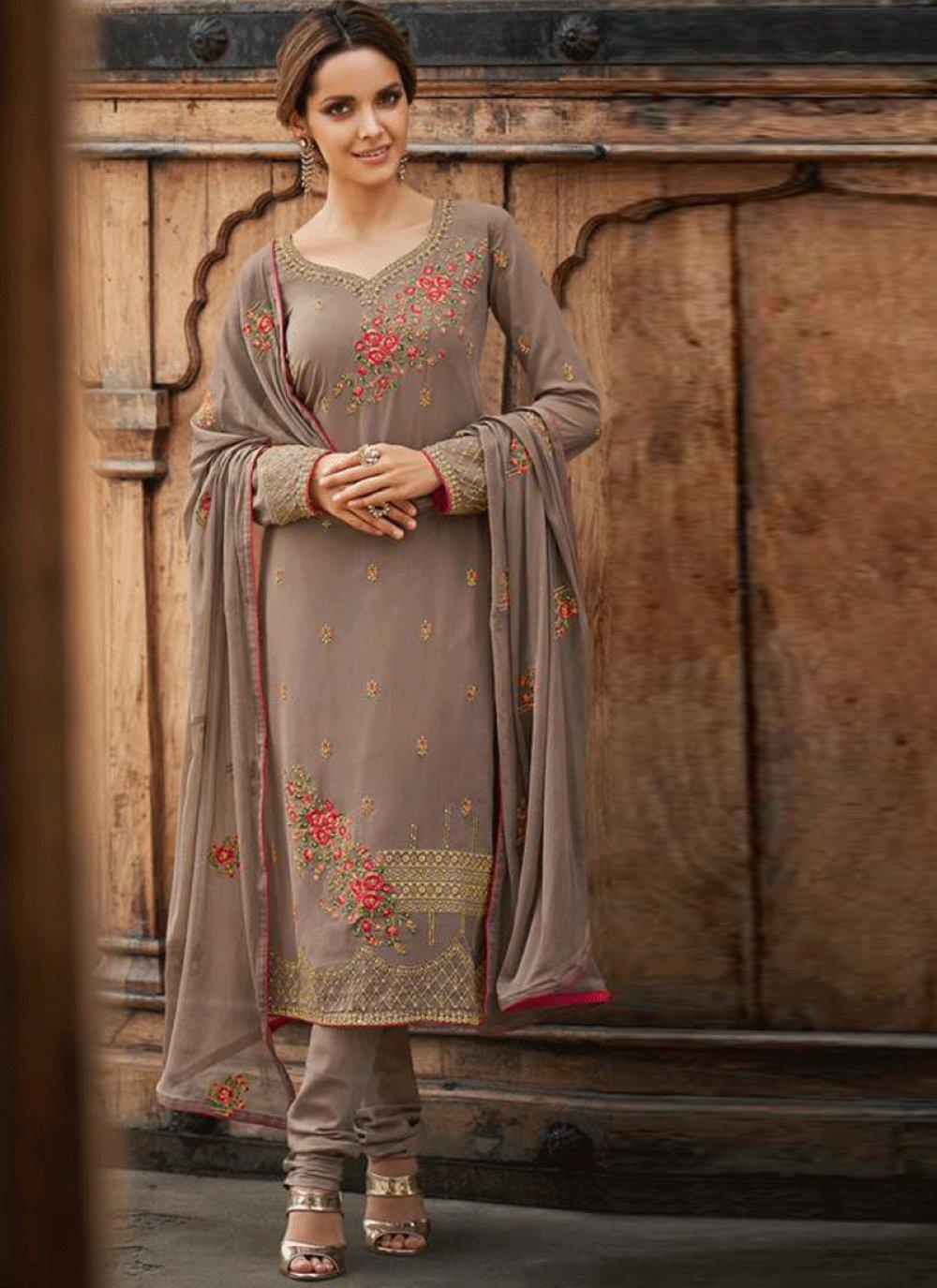 Brown Embroidered Festival Designer Salwar Kameez